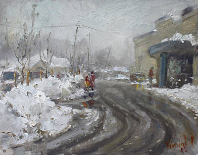Tim Painting - A Snow Day At Mil-pine Plaza by Ylli Haruni