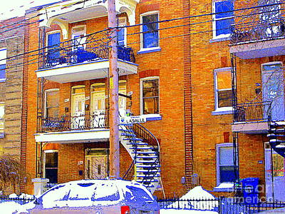 Verdun Painting - Picture Perfect Snow Day In Verdun Winding Staircases In The City Montreal City Scene Art Cspandau by Carole Spandau