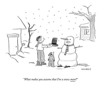 Winter Scene Drawing - A Snowman Confronts A Mother by Liza Donnelly