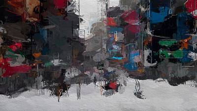 Traffic Light Mixed Media - A Snowy Day In New York City by Steve K