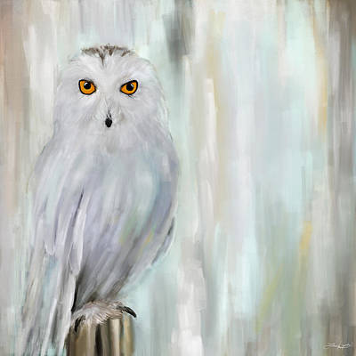 Colored Owl Painting - A Snowy Stare by Lourry Legarde