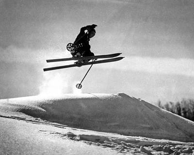 A Soaring Skier In Profile Art Print by Underwood Archives