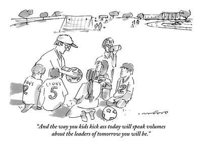 Soccer Drawing - A Soccer Coach Gives His Team Of Kid Players by Michael Crawford