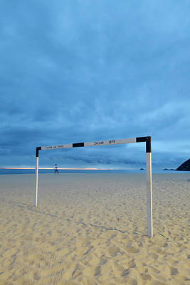 Ipanema Beach Photograph - A Soccer Goal Post At Dusk At Ipanema by Kevin Berne