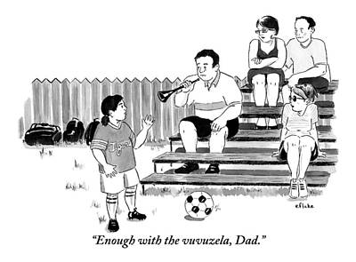 Bleachers Drawing - A Soccer-playing Little Girl Chastises Her Father by Emily Flake