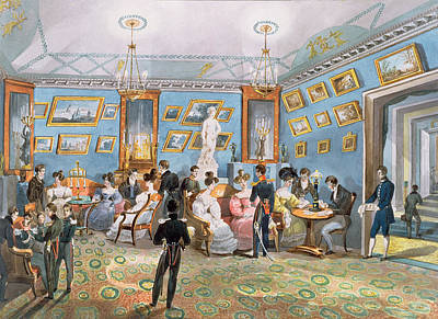 Gathering Photograph - A Society Drawing Room, C.1830 Wc On Paper by Karl Ivanovich Kolmann