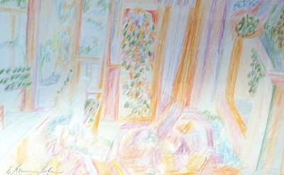 Drawing - A Soft Interior by Esther Newman-Cohen