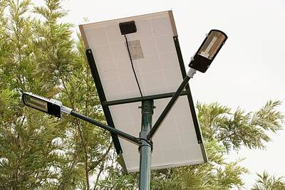 A Solar Street Light In Bangalore Art Print by Ashley Cooper