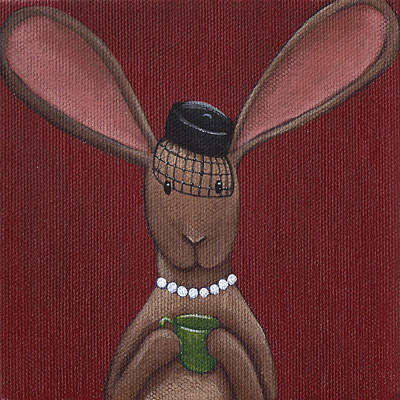 Tea Time Painting - A Sophisticated Bunny by Christy Beckwith