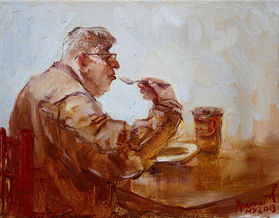 Table Painting - A Soupe Break At Tim Hortons by Ylli Haruni