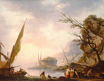 A Southern Coastal Scene, 1753 Oil On Canvas Print by Charles Francois Lacroix de Marseille