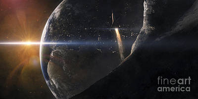 Digital Art - A Space Shuttle Flying Over An Asteroid by Tobias Roetsch