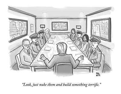 Construction Drawing - A Spectacularly Coifed Politician Speaks by Paul Noth