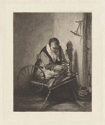 Spinning Drawing - A Spinning Woman, Print Maker Willem Steelink II by Willem Steelink Ii And Nicolaes Maes