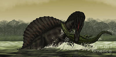 A Spinosaurus Catches A Young Art Print