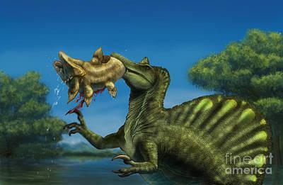 Two Fish Digital Art - A Spinosaurus Dinosaur Fishing by Alvaro Rozalen