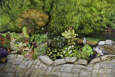 Decorative Benches Painting - A Splendid Garden - Koi Pond by Gail Darnell