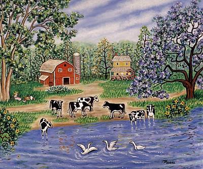 Dairy Farm Painting - A Spring Afternoon by Linda Mears