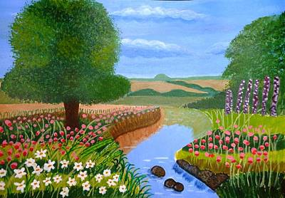 Art Print featuring the painting A Spring Stream by Magdalena Frohnsdorff