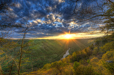 A Spring Sunset On Beauty Mountain In West Virginia. Art Print by Michael Bowen