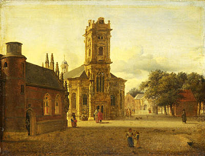 Painting - A Square Before A Church by Jan van der Heyden