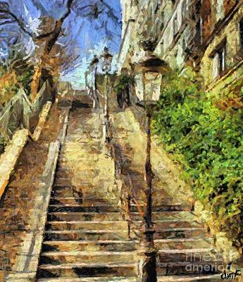 A Stairway In Montmartre Art Print by Dragica  Micki Fortuna