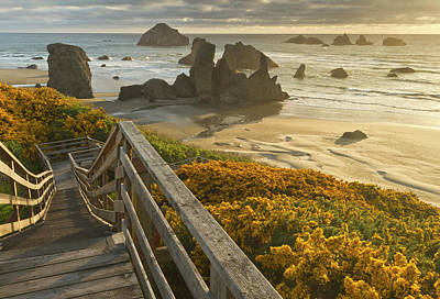 Sutton Photograph - A Stairway Leads To The Beach by William Sutton