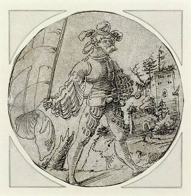 Berlin Drawing - A Standard-bearer Before A Castle Master Of The Berlin by Litz Collection