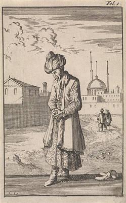 Prayer Drawing - A Standing Turk In Prayer, Caspar Luyken by Caspar Luyken And Timotheus Ten Hoorn