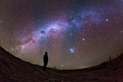 A Stargazer Observing The Milky Way Art Print