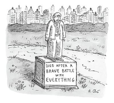 Statues Drawing - A Statue Of A Man Reading by Roz Chast