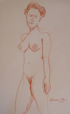 Drawing - A Stiff Nude by Esther Newman-Cohen