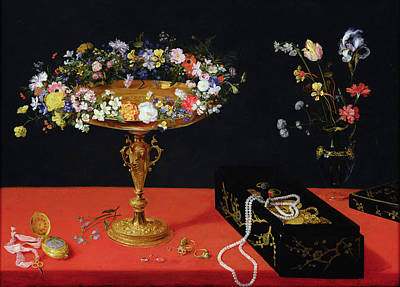 A Still Life Of A Tazza With Flowers  Art Print by Jan the Younger Brueghel