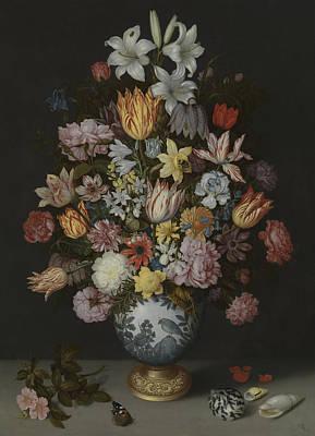 Gladioli Photograph - A Still Life Of Flowers In A Wan-li Vase by Ambrosius Bosschaert the Elder