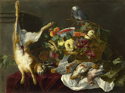 A Still Life With Fruit Dead Game And A Parrot Art Print by Jan Fyt