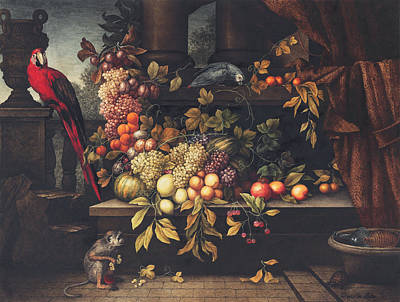 Peaches Drawing - A Still Life With Fruit, Wine Cooler by David Emil Joseph de Noter