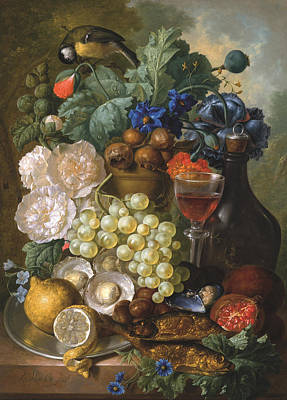 A Still Life With Fruits And Flowers With Oysters Mussels A Glass Of Wine And A Decanter Art Print by Jan van Os