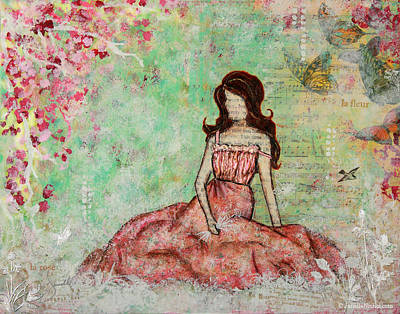 A Still Morning Folk Art Mixed Media Painting Original