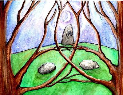 Painting - A Stone In The Grove In Moonlight by Janice T Keller-Kimball