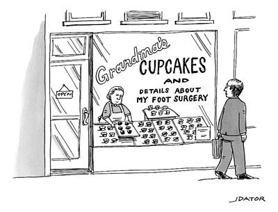 Grandmother Drawing - A Storefront Reads: Grandma's Cupcakes by Joe Dator