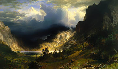 Mountain Valley Painting - A Storm In The Rocky Mountains by Mountain Dreams