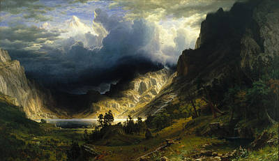Landscape. Mountain Trees Water Bush Painting - A Storm In The Rocky Mountains Mt. Rosalie by Albert Bierstadt