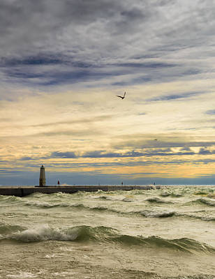 Photograph - A Stormy Late Afternoon Frankfort Harbor Michigan by Dick Wood