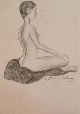Drawing - A Straight Backed Nude by Esther Newman-Cohen
