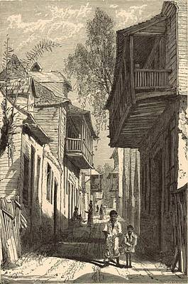 Horse And Buggy Drawing - A Street In St. Augustine 1872 Engraving by Antique Engravings