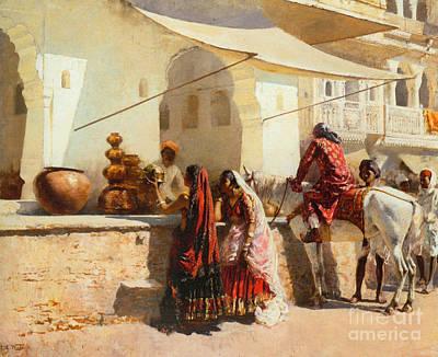 Market Scene Painting - A Street Market Scene by Celestial Images