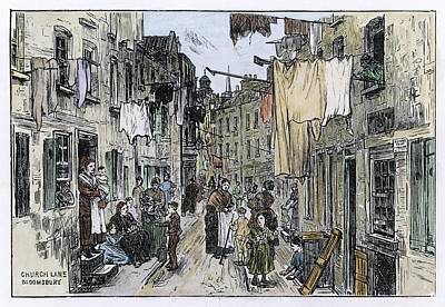 Bloomsbury Drawing - A Street Scene In Church Lane by Mary Evans Picture Library