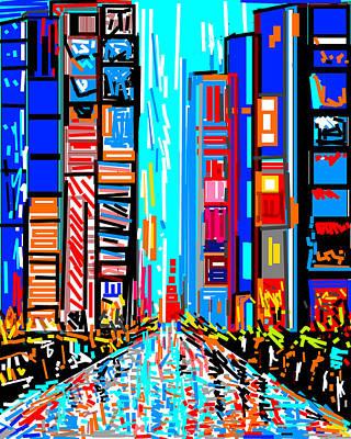 Life Study . Ganesha Digital Art - A Street Scene In New York by Anand Swaroop Manchiraju