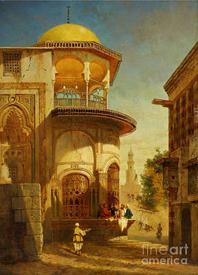 A Street Scene In Old Cairo Near The Ibn Tulun Mosque Art Print by Adrien Dauzats