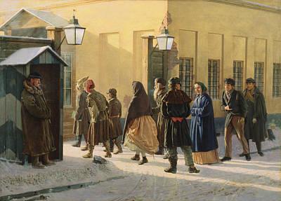 Sentry Photograph - A Street Scene, Outside A Prison, 1868 Oil On Canvas by Vasili Georgievich Malyschev